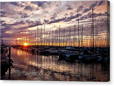 Marina Sunset Canvas Print by Mike Reid