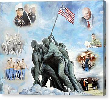 Marine Corps Art Academy Commemoration Oil Painting By Todd Krasovetz Canvas Print by Todd Krasovetz