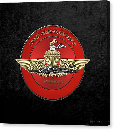 Canvas Print featuring the digital art Marine Force Reconnaissance  -  U S M C   F O R E C O N  Insignia Over Black Velvet by Serge Averbukh