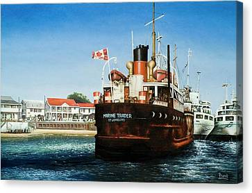 Canvas Print featuring the painting Marine Trader by Michael Frank