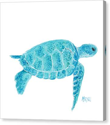 Marine Turtle Painting On White Canvas Print by Jan Matson