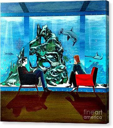 Marinelife Observing Couple Sitting In Chairs Canvas Print by John Lyes