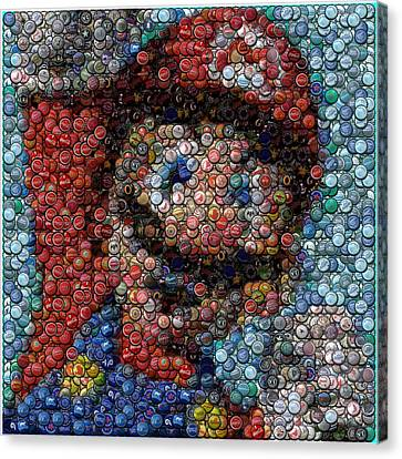 Mario Bottle Cap Mosaic Canvas Print