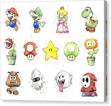 Mario Characters In Watercolor Canvas Print