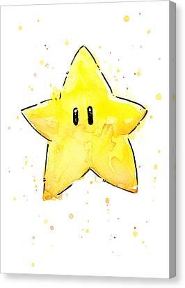 Mario Invincibility Star Watercolor Canvas Print
