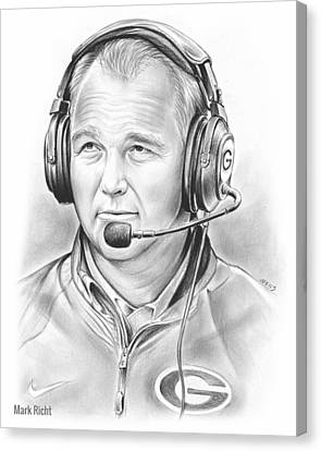 Football Canvas Print - Mark Richt  by Greg Joens