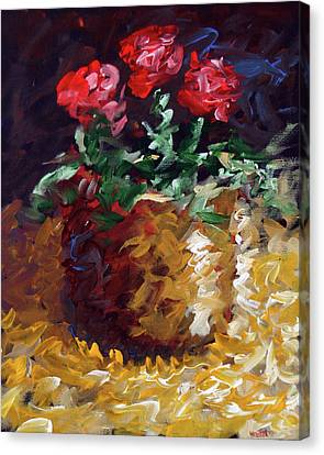 Canvas Print featuring the painting Mark Webster - Abstract Electric Roses Acrylic Still Life Painting by Mark Webster