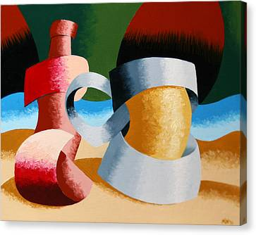 Mark Webster - Abstract Futurist Beer Mug And Bottle Canvas Print