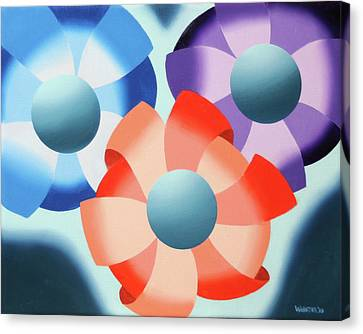 Canvas Print featuring the painting Mark Webster - Abstract Futurist Flowers 2 Oil Painting  by Mark Webster