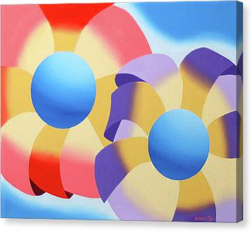 Mark Webster - Abstract Futurist Flowers Oil Painting Canvas Print by Mark Webster