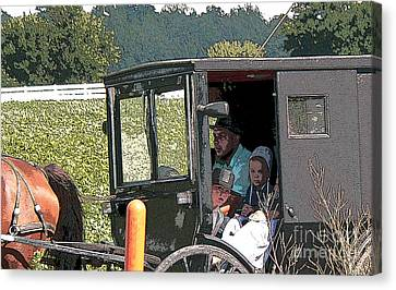 Amish Family Canvas Print - Market Day by David Bearden