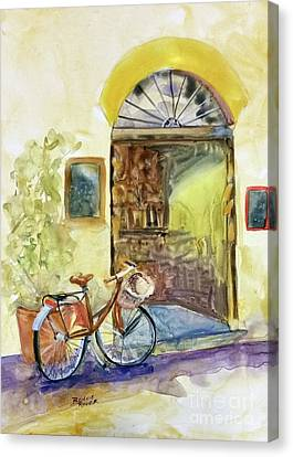 Canvas Print featuring the painting Market Day In Lucca by Bonnie Rinier