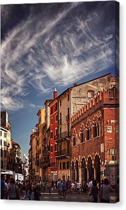 Italian Street Canvas Print - Market Day In Verona by Carol Japp