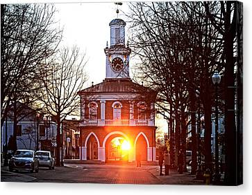 Market House Sunrise - Fayetteville Nc- January 28 2015 - First Light Canvas Print by Matt Plyler