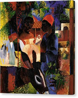 Market In Tunis Canvas Print by August Macke