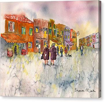 Canvas Print featuring the painting Market Place In Borano by Sharon Mick