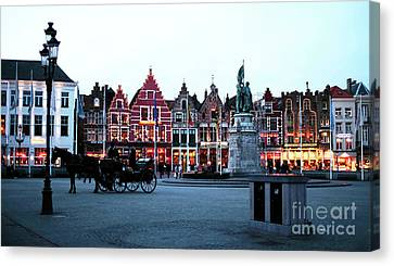 Market Square At Night Canvas Print by John Rizzuto