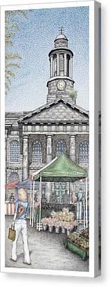 Market Square Clock  Lancaster  Lancashire Canvas Print by Sandra Moore