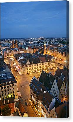 Market Square In The Old Town Of Wroclaw Canvas Print by Guy Vanderelst
