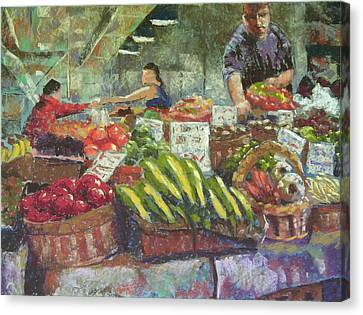 Market Stacker Canvas Print by Mary McInnis