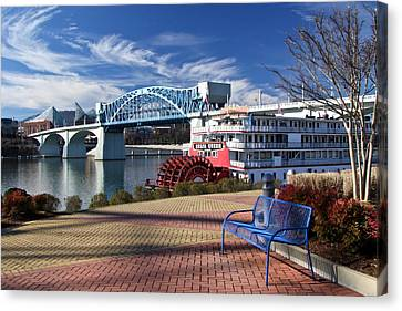Market Street Bridge With The Delta Queen From Coolidge Park Canvas Print by Tom and Pat Cory