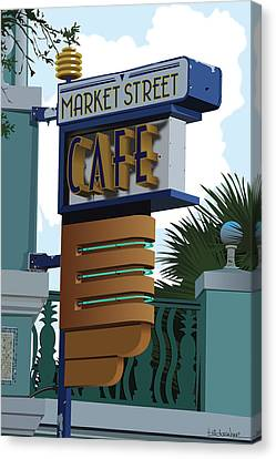 Market Street Cafe Canvas Print by Bill Dussinger