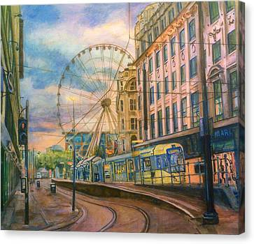 Market Street Metrolink Tramstop With The Manchester Wheel  Canvas Print