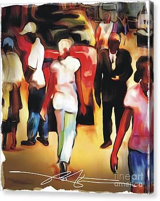 Market Street Scene Canvas Print by Bob Salo