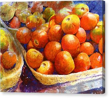 Canvas Print featuring the painting Market Tomatoes by Andrew King