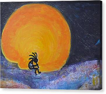 Marmalade Orange And Yellow Moon And Kokopelli Canvas Print by Anne-Elizabeth Whiteway