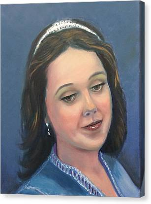 Canvas Print featuring the painting Young Lady  by Laila Awad Jamaleldin