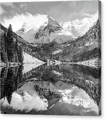 Maroon Bells - Aspen Colorado - Monochrome - American Southwest 1x1 Canvas Print by Gregory Ballos