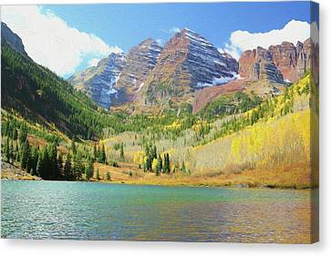 Canvas Print featuring the photograph The Maroon Bells Reimagined 2 by Eric Glaser