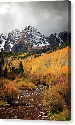 Maroon Bells Fall Storm Canvas Print