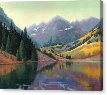Maroon Bells In October Canvas Print by Janet King