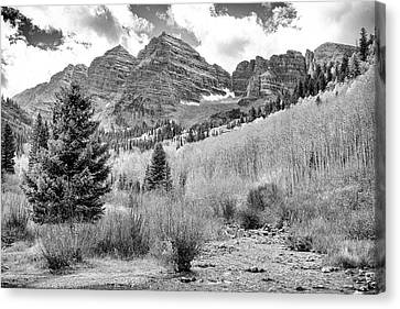 Maroon Bells Monochrome Canvas Print by Eric Glaser