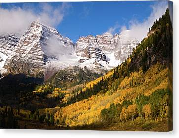 Canvas Print featuring the photograph Maroon Bells by Steve Stuller