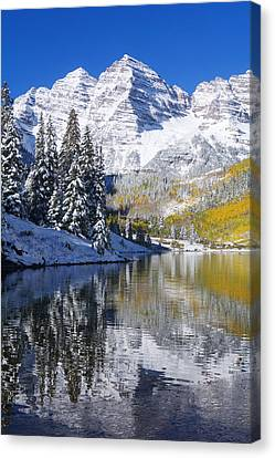 Maroon Lake And Bells 2 Canvas Print