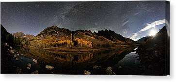 Maroon Lake Milky Way Panorama Canvas Print by Mike Berenson