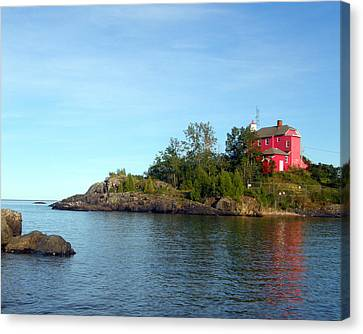 Marquette Harbor Lighthouse Reflection Canvas Print by Mark J Seefeldt
