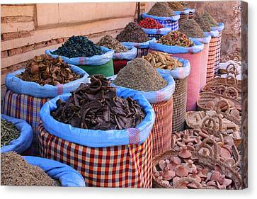 Canvas Print featuring the photograph Marrakech Spice Market by Ramona Johnston