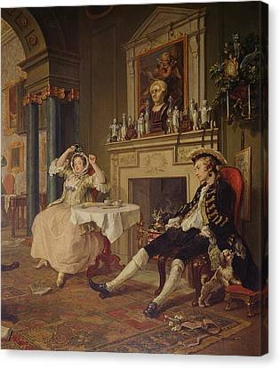 Marriage A La Mode II The Tete A Tete Canvas Print by William Hogarth