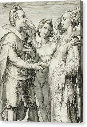 Plate 1 Canvas Print - Marriage For Pleasure by Jan Saenredam