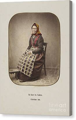 Old Canvas Print - Married Woman From Valdres by MotionAge Designs