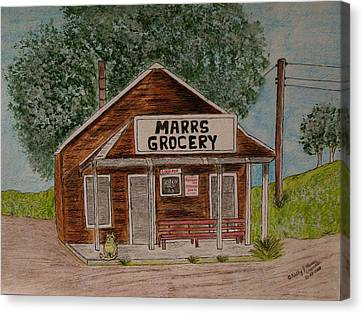 Canvas Print featuring the painting Marrs Country Grocery Store by Kathy Marrs Chandler