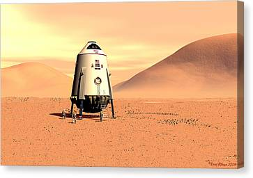 Canvas Print featuring the digital art Mars Lander Ares First Steps by David Robinson