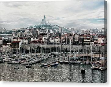 Canvas Print featuring the photograph Marseilles France Harbor by Alan Toepfer