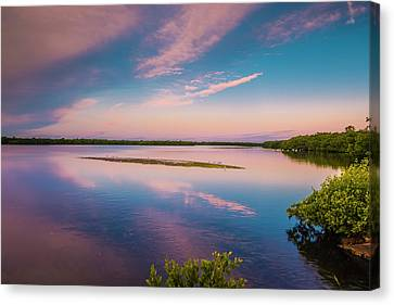 Canvas Print featuring the photograph Marsh At Sunrise by Steven Ainsworth