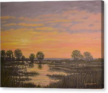 Marsh At Sunset Canvas Print by Kathleen McDermott