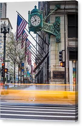 Marshall Field Clock Chicago Canvas Print by Steve Gadomski